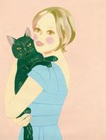 黒い猫を抱いた女性 02463000037| 写真素材・ストックフォト・画像・イラスト素材|アマナイメージズ