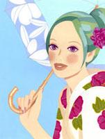浴衣を着て日傘を差している女性