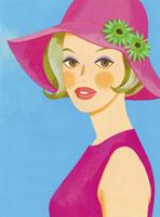 ピンクの帽子をかぶった女性