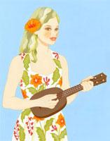 ハイビスカスのワンピースを着て、ウクレレを弾いている女性 02463000042| 写真素材・ストックフォト・画像・イラスト素材|アマナイメージズ