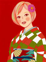 市松模様の着物を着た女性