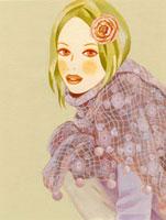 ショールを羽織り、しゃがんで見上げる女性 02463000045| 写真素材・ストックフォト・画像・イラスト素材|アマナイメージズ