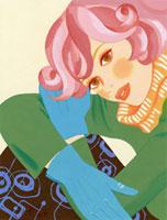 三角座りで斜めに見上げる女性 02463000046| 写真素材・ストックフォト・画像・イラスト素材|アマナイメージズ