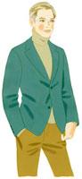 緑のジャケットを着た立ち姿の男性 02463000048| 写真素材・ストックフォト・画像・イラスト素材|アマナイメージズ