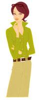 顎に指をあてている女性 02463000051| 写真素材・ストックフォト・画像・イラスト素材|アマナイメージズ