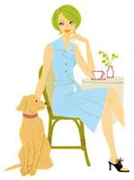 カフェで犬とくつろぐ女性 02463000052| 写真素材・ストックフォト・画像・イラスト素材|アマナイメージズ