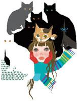 猫と戯れる、マフラーを巻いた女の子