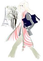 エッフェル塔を背景に歩いている女性