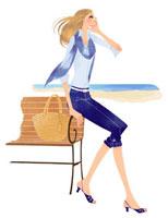 海辺のベンチに腰掛けている女性 02463000082| 写真素材・ストックフォト・画像・イラスト素材|アマナイメージズ