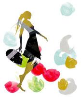 バッグを持ってスキップしている女性のシルエット