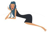 寝そべっている黒いワンピースの女性