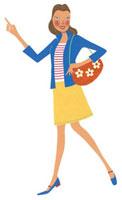 歩きながら指をさしている女性 02463000099| 写真素材・ストックフォト・画像・イラスト素材|アマナイメージズ
