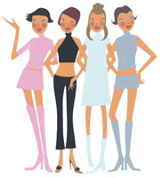 4人の女性 02463000101| 写真素材・ストックフォト・画像・イラスト素材|アマナイメージズ