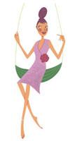 葉っぱのブランコに座っている女性 02463000105| 写真素材・ストックフォト・画像・イラスト素材|アマナイメージズ