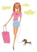 キャリーケースを持って犬と歩く女性 02463000118| 写真素材・ストックフォト・画像・イラスト素材|アマナイメージズ