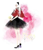 小さな花を持った女性と蝶 02463000127| 写真素材・ストックフォト・画像・イラスト素材|アマナイメージズ