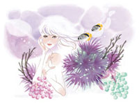 女性と熱帯魚