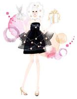 ドレスを着てプレゼントを持っている女性 02463000132| 写真素材・ストックフォト・画像・イラスト素材|アマナイメージズ