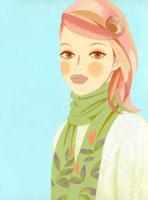 ショールを巻いた女性のバストアップ 02463000134| 写真素材・ストックフォト・画像・イラスト素材|アマナイメージズ