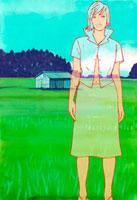 田と女性のイメージ 02463000136| 写真素材・ストックフォト・画像・イラスト素材|アマナイメージズ