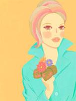 小さい花を持った女性 02463000140| 写真素材・ストックフォト・画像・イラスト素材|アマナイメージズ