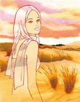 夕焼けの野原と女性 02463000146| 写真素材・ストックフォト・画像・イラスト素材|アマナイメージズ