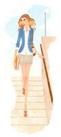 階段を下りる女性 02463000150| 写真素材・ストックフォト・画像・イラスト素材|アマナイメージズ