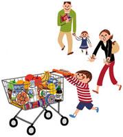 食料品のカートを押す子供と家族