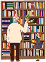 本棚の前でほほえみ合うおじいさんと少女