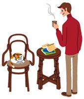 コーヒーカップを持っている男性と椅子の上の猫