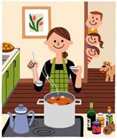 料理をしているお母さんと楽しみに覗いている家族