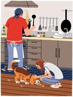 チャーハンを作る男性とこぼれたものを食べる犬