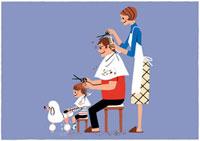 散髪をし合っている家族