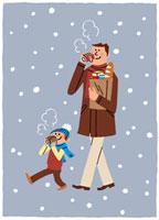 雪道で缶コーヒーを飲みながら歩く親子