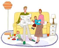 リビングでくつろぐ家族 02463000174| 写真素材・ストックフォト・画像・イラスト素材|アマナイメージズ