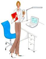 オフィスでコーヒーを飲んでいる女性