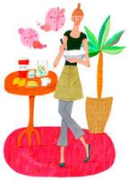 ケーキ作りをする女性