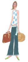 旅行鞄と麦わら帽子を持った女性