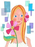 女性のバストアップと花