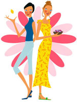 果物をもった二人の女性 02463000192| 写真素材・ストックフォト・画像・イラスト素材|アマナイメージズ