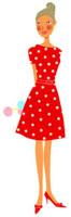 花を持っている赤いワンピースの女性 02463000202| 写真素材・ストックフォト・画像・イラスト素材|アマナイメージズ