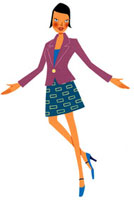 紫のジャケットをきて腕を広げている女性