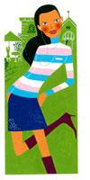 イヤホンをした女性と家 02463000209| 写真素材・ストックフォト・画像・イラスト素材|アマナイメージズ