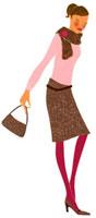 ハンドバッグを持って目を閉じている女性
