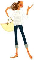 大きなバッグを持って手のひらを上に向けている女性 02463000214| 写真素材・ストックフォト・画像・イラスト素材|アマナイメージズ