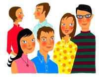 6人の若い男女のバストアップ 02463000215| 写真素材・ストックフォト・画像・イラスト素材|アマナイメージズ