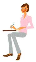 何かを書いている女性 02463000216| 写真素材・ストックフォト・画像・イラスト素材|アマナイメージズ