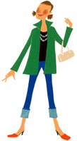 緑のコートを着て、目を閉じている女性