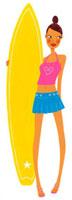 サーフボードを持った女性 02463000227| 写真素材・ストックフォト・画像・イラスト素材|アマナイメージズ