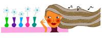 イヤホンをした女性と一輪挿しの花 02463000229| 写真素材・ストックフォト・画像・イラスト素材|アマナイメージズ